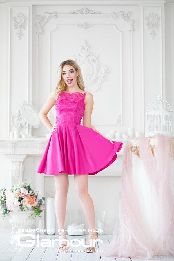 Малиновое вечернее платье. Розовое вечернее платье. Короткое вечернее платье. Днепр.