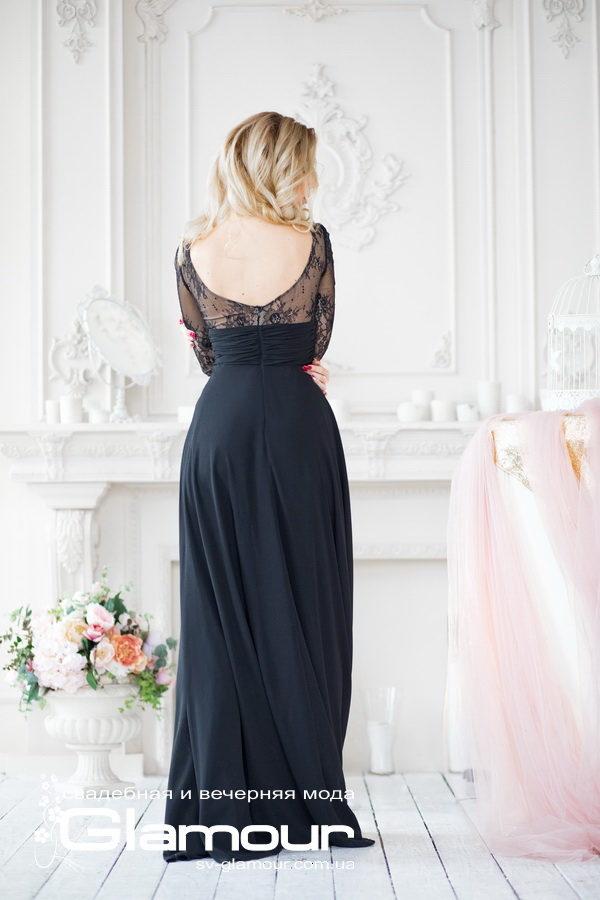 Черное платье из шифона. Вечернее черное платье.Днепр
