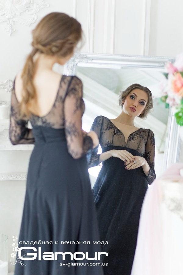 Вечернее черное кружевное платье. Юбка из шифона.