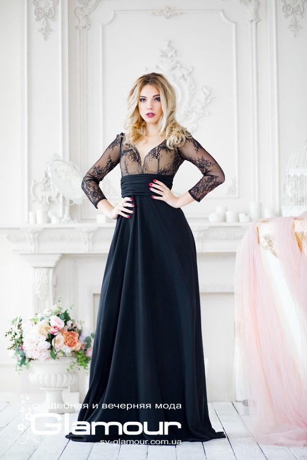 Вечернее черное платье. Платье в пол черное, кружево и шифон. Днепр.
