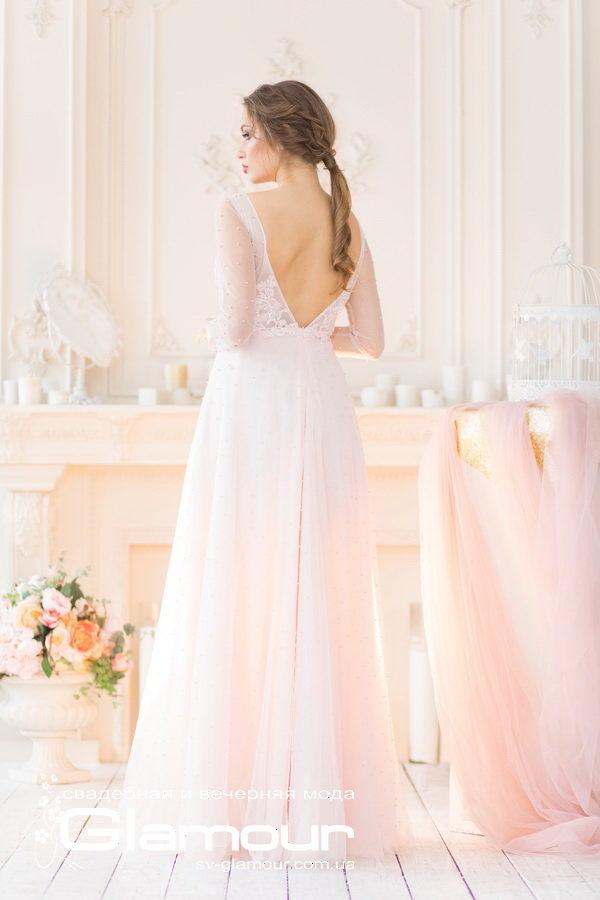 Миловидное свадебное и вечернее платье нежного розового цвета. Днепр.
