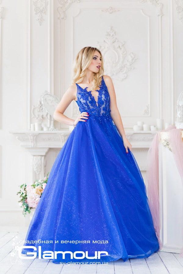 вечернее платье синее, ткань глиттер. Шикарное платье для выпускного бала! Днепр