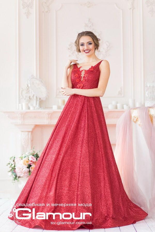 Красное вечернее платье. Платье из глиттера. Платье в пол. Платье для выпускного бала.