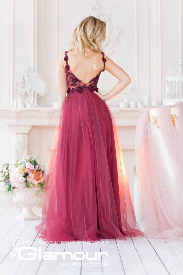 Бордовое вечернее платье,полупрозрачный верх,открытая спина. отличный выбор для выпускного бала 2019