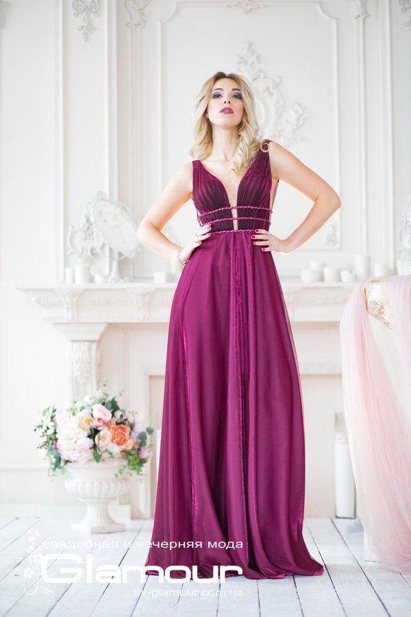 Вечернее платье цвет марсала, глубокое декольте, платье для выпускного бала.