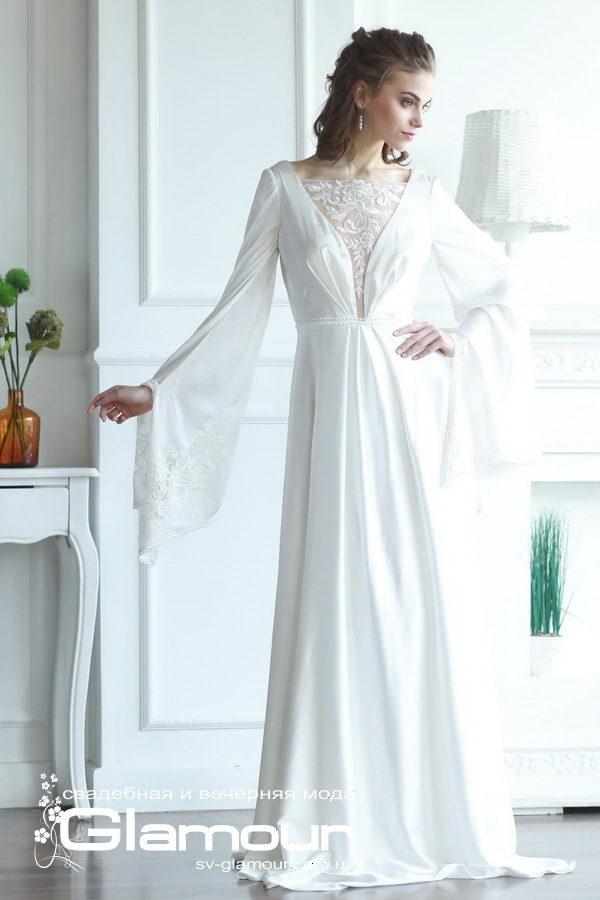 Белое свадебное платье дизайнерское