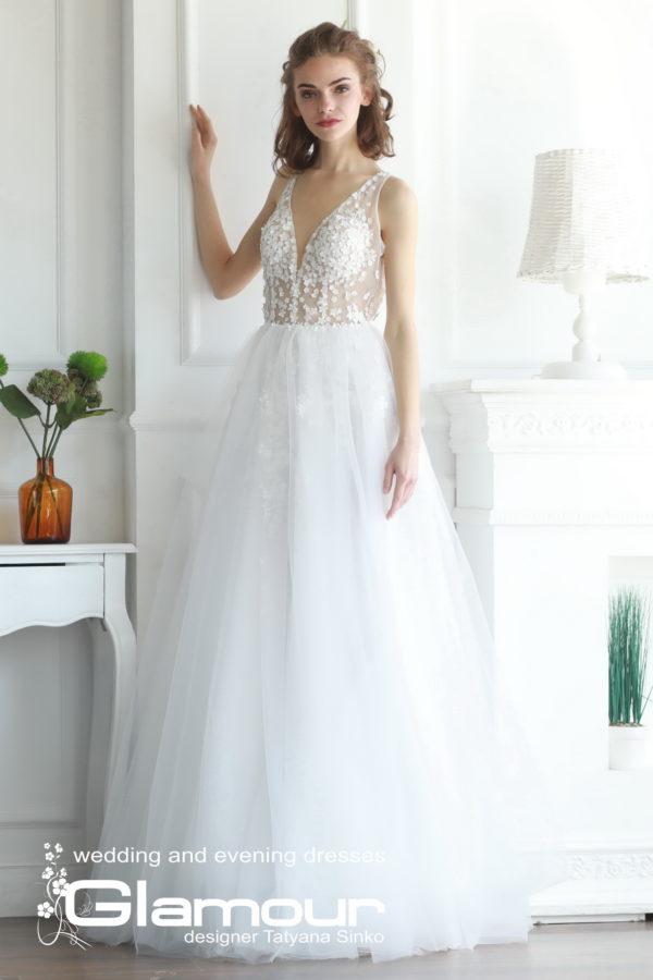 Свадебное длинное платье Elsa