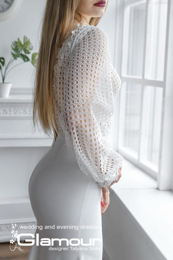 Платье свадебное рыбка белое